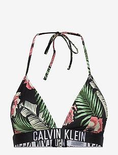 FIXED TRIANGLE-RP-PR - bikini tops - tropical print black