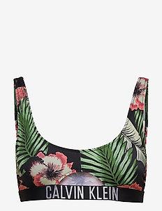 CUT OUT BRALETTE-PRINT - bikinitoppar - tropical print black