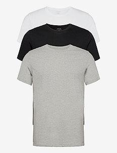 S/S CREW NECK 3PK - kortærmede t-shirts - black/ white/ grey heather