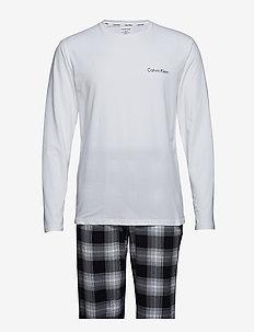 L/S PANT SET - WHITE TOP/SCHOOL PLAID BLACK