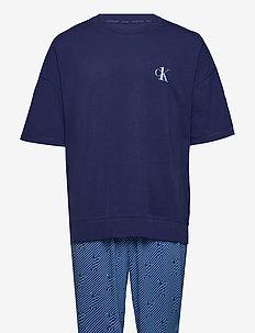 S/S JOGGER PJ SET - piżamy - blue top/ numero uno stripe bo