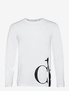 L/S CREW NECK - long-sleeved t-shirts - white w/ black logo
