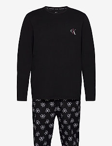 L/S PANT SET - pyjamat - black top/ tristar print botto