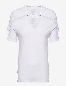 2P S/S V NECK T SLIM - WHITE / WHITE