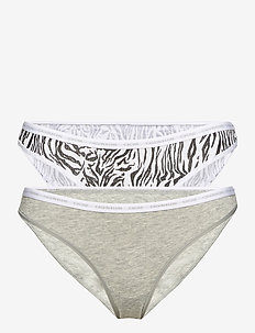 BIKINI 2PK - briefs - grey heather/glass tiger print