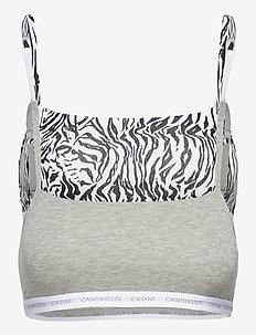 UNLINED BRALETTE 2PK - soutien-gorge souple - grey heather/glass tiger print