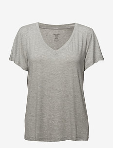 S/S V NECK - tops - grey heather