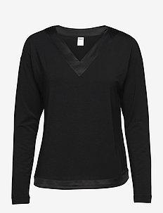 L/S V-NECK - Överdelar - black