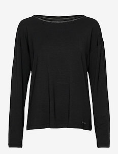 L/S WIDE NECK - tops - black