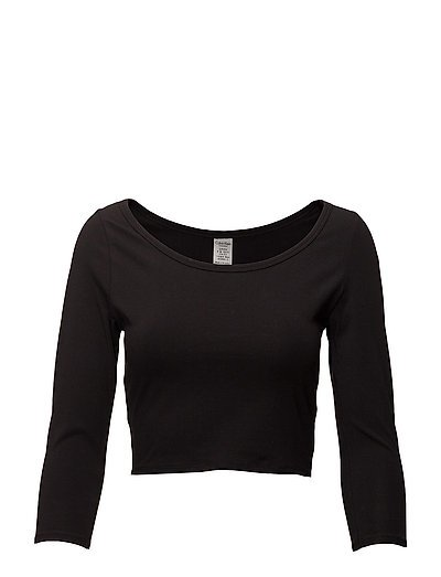 L/S CURVE NECK - BLACK