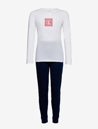 KNIT PJ SET (LS+CUFFED PANT) - pyjamas - navyiris/w/pvhwhite