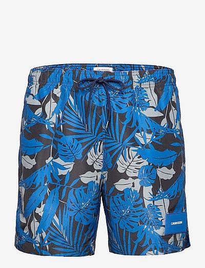 MEDIUM DRAWSTRING-PRINT - swim shorts - tropical print black iris
