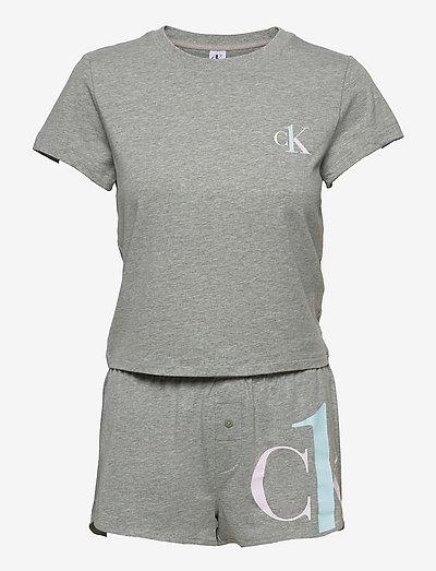 S/S SHORT SET - pyjamas - grey heather/pearly pink