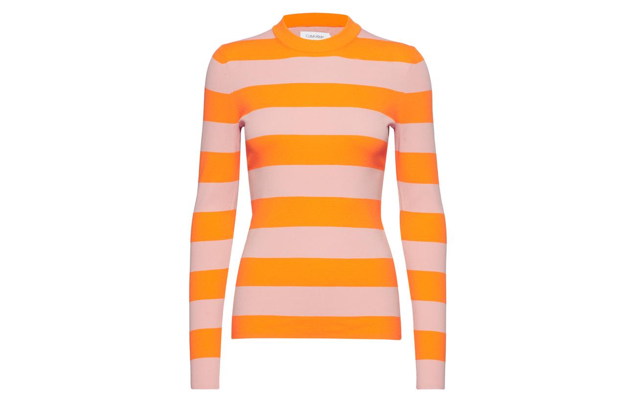 n 100 Orange Flame Klein C Rib Polyamide Stripe Blush Nylon Calvin 8XqwAO8z