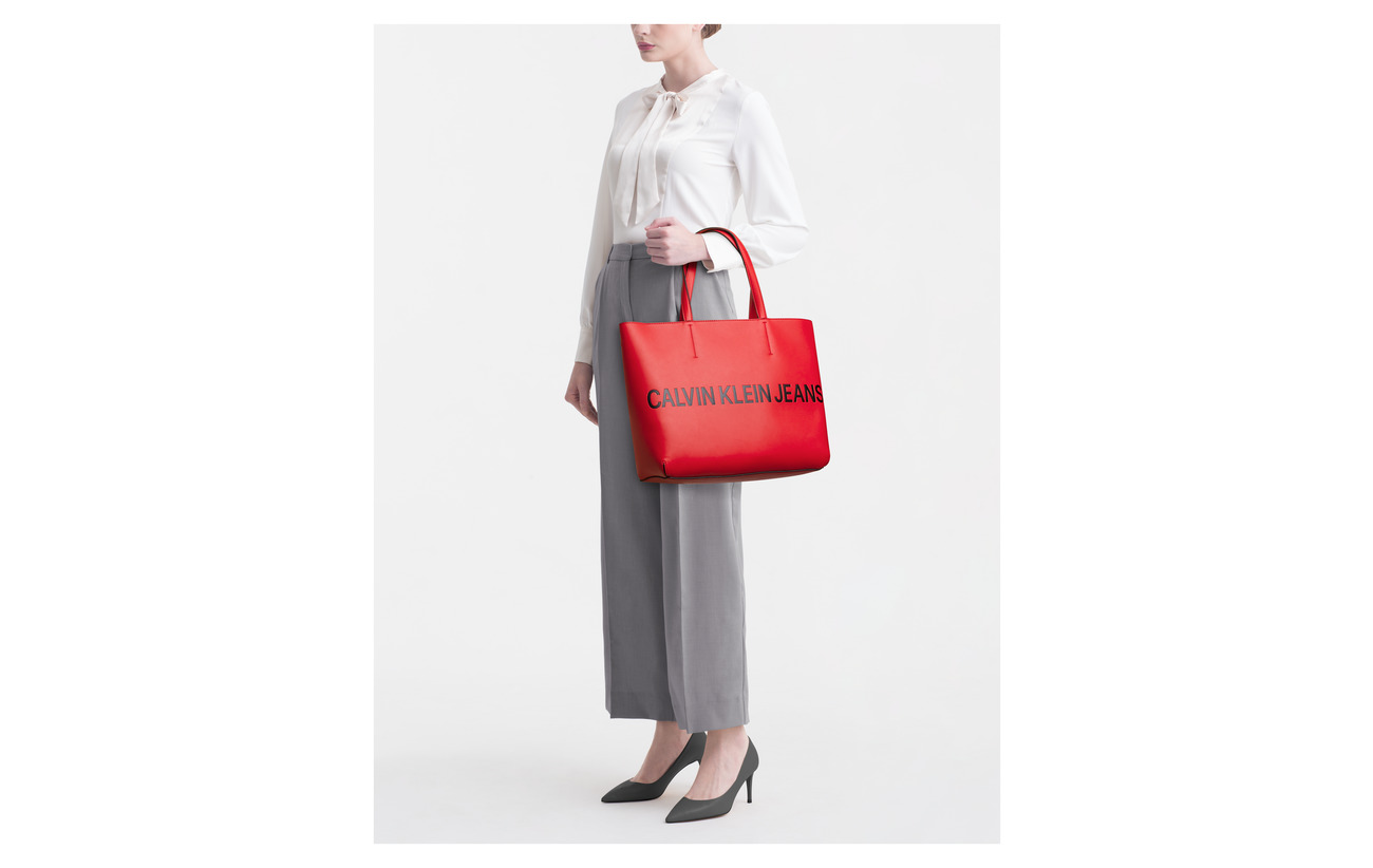 Calvin 100 Coated Tote Lo Klein Zip White Polyurethane Sculpted zqgrz