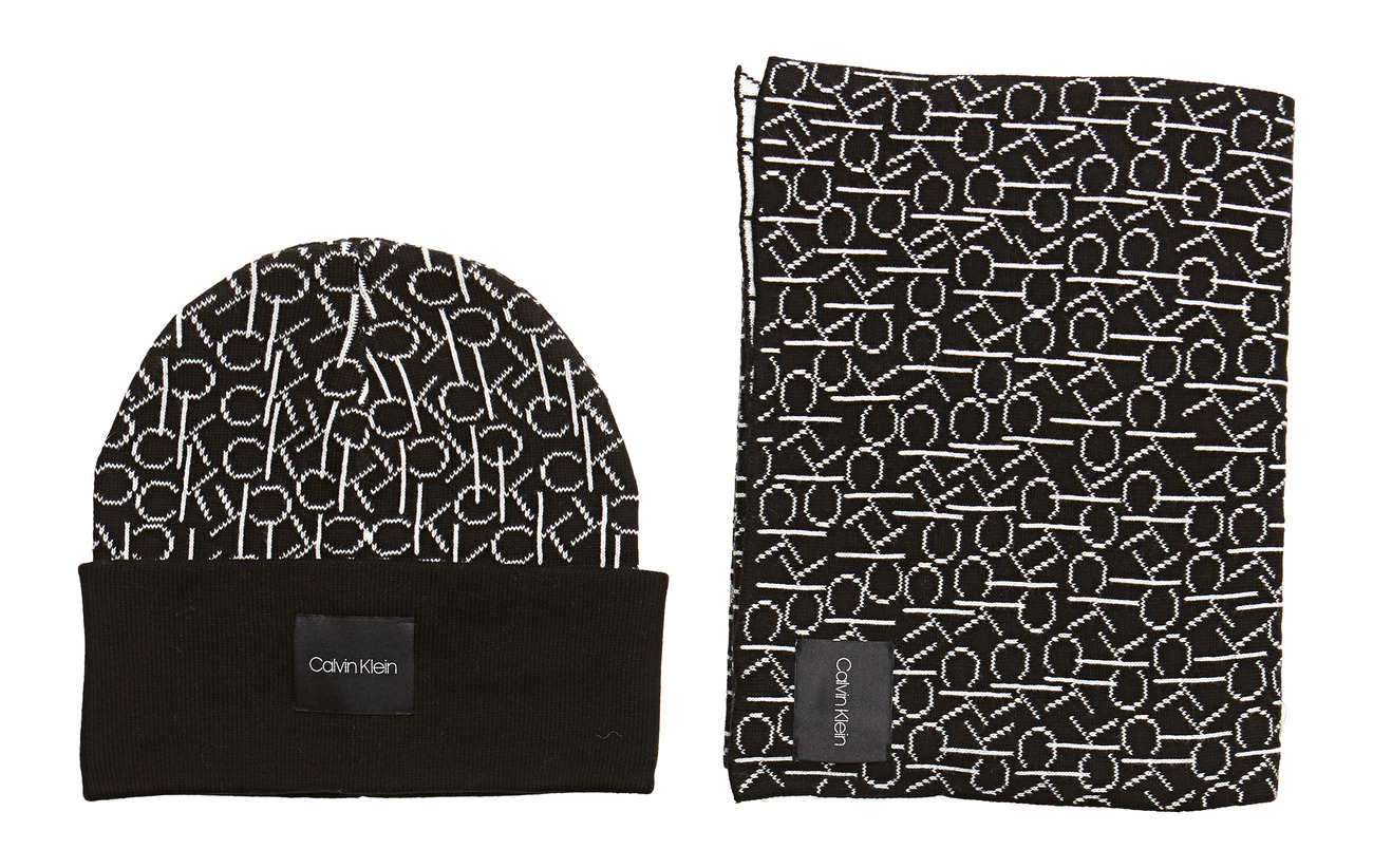Calvin Klein CK KNITTED SCARF&BEA - BLACK