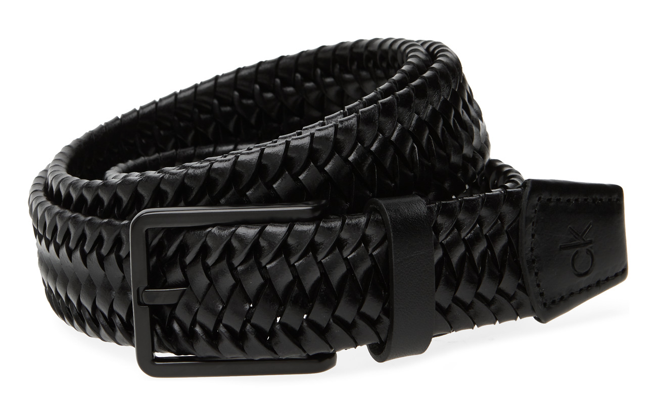 Calvin Klein 35MM BRAIDED FIXED LEATHER BELT - BLACK
