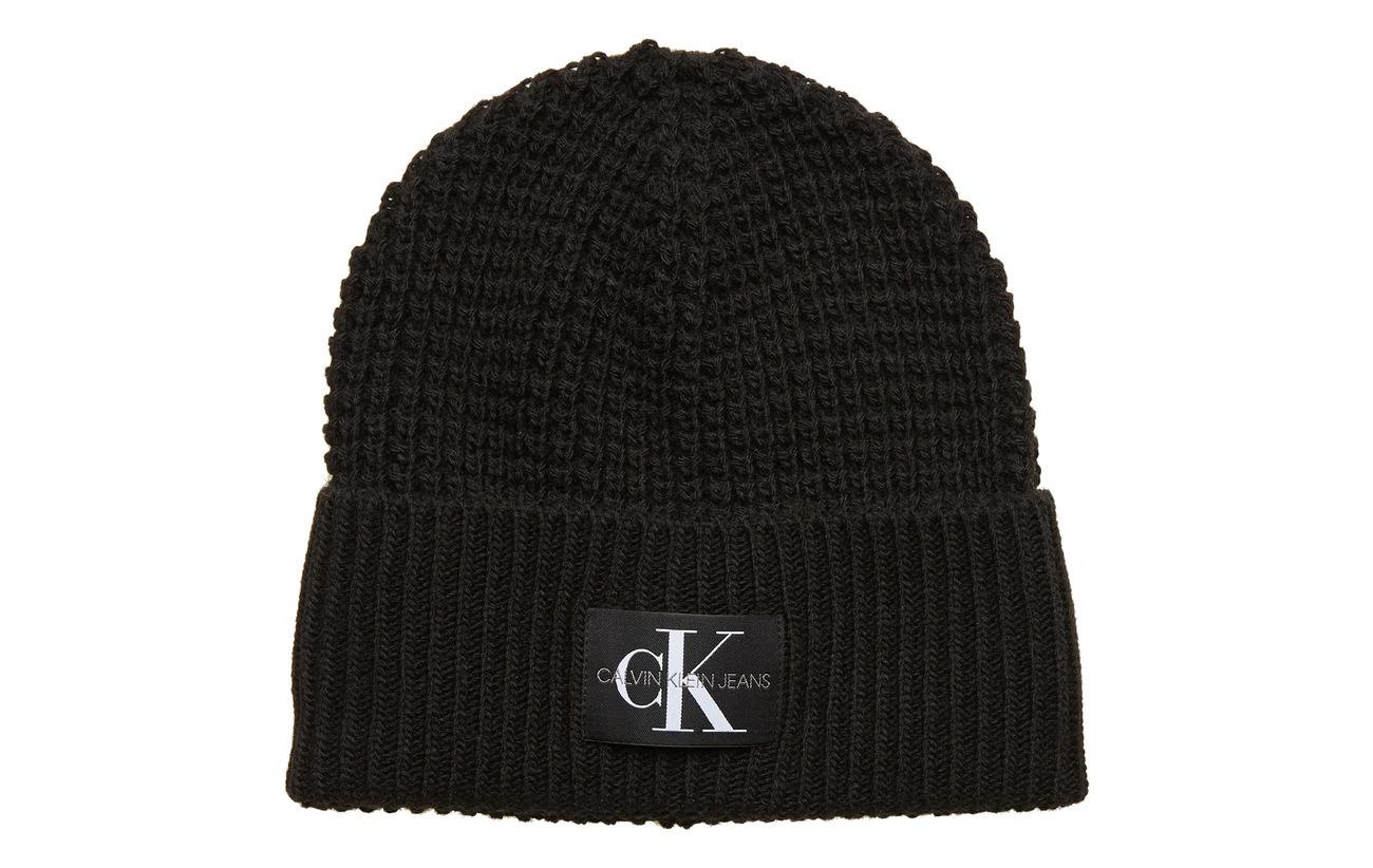 Calvin Klein J WAFFLE BEANIE - BLACK