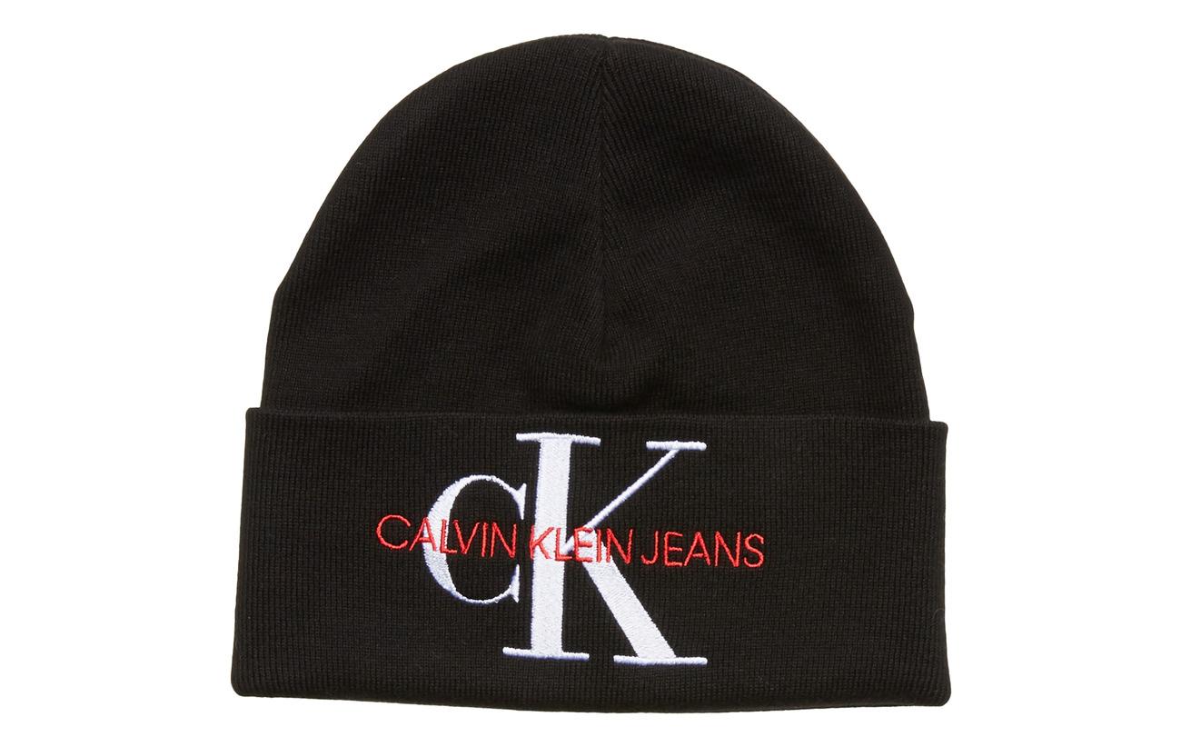 Calvin Klein CKJ FRONT MONOGRAM BEANIE W - BLACK BEAUTY