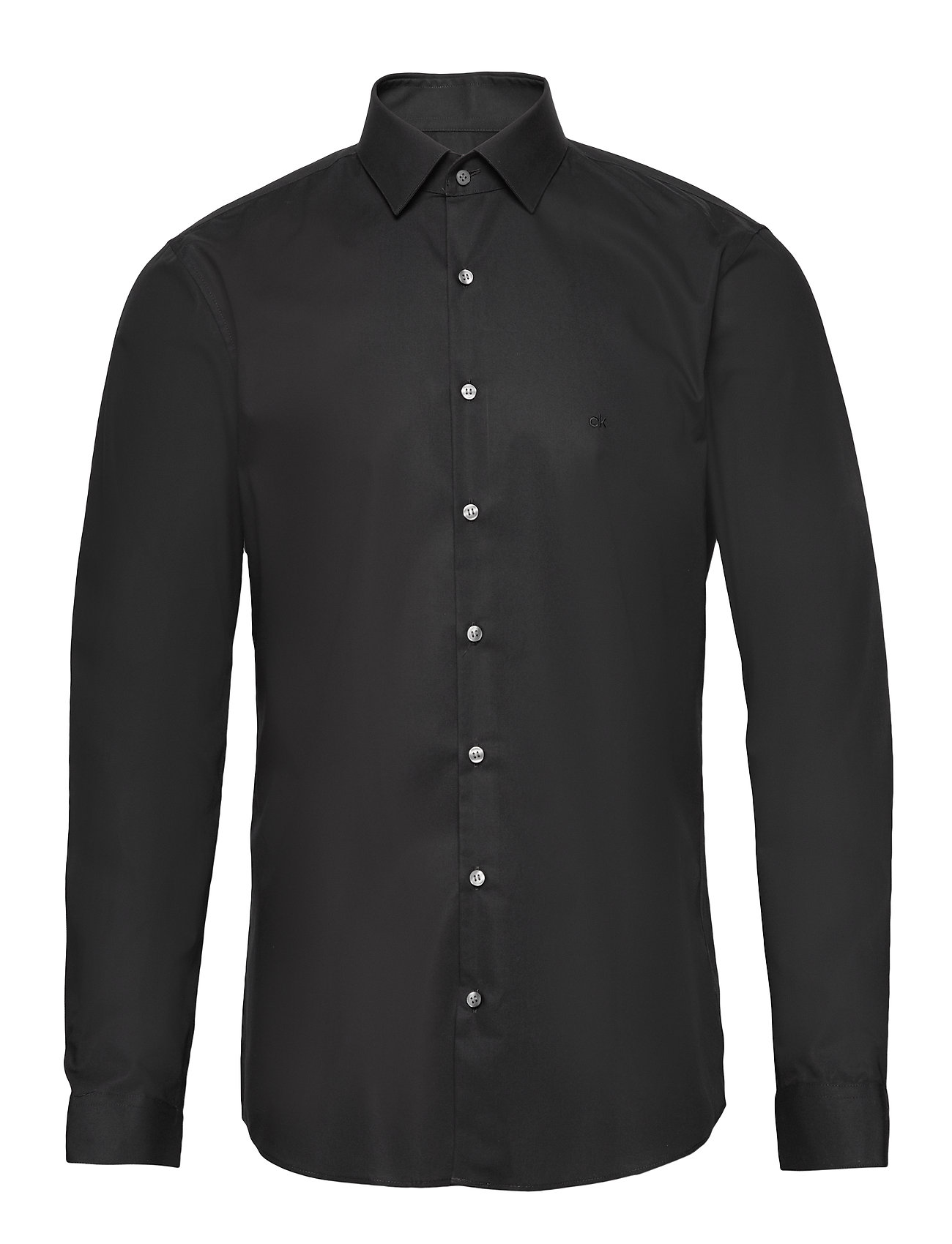 Calvin Klein 2PLY POPLIN STRETCH SLIM SHIRT - DF BLACK