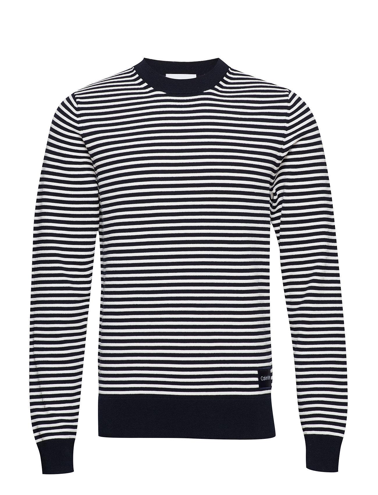 CALVIN KLEIN Texture Stripe C-Neck Sweater Strickpullover Rundhals Blau CALVIN KLEIN