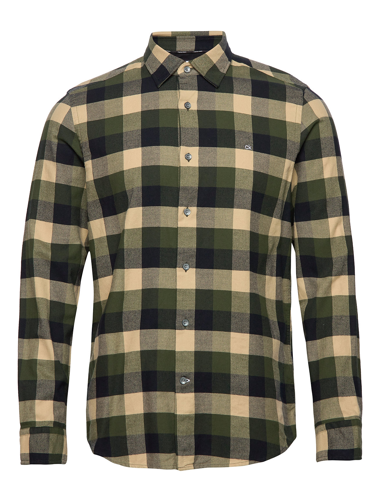 Calvin Klein BRUSHED TWILL CHECK SHIRT - BLOCK CHECK - BLACK / OLIVE /