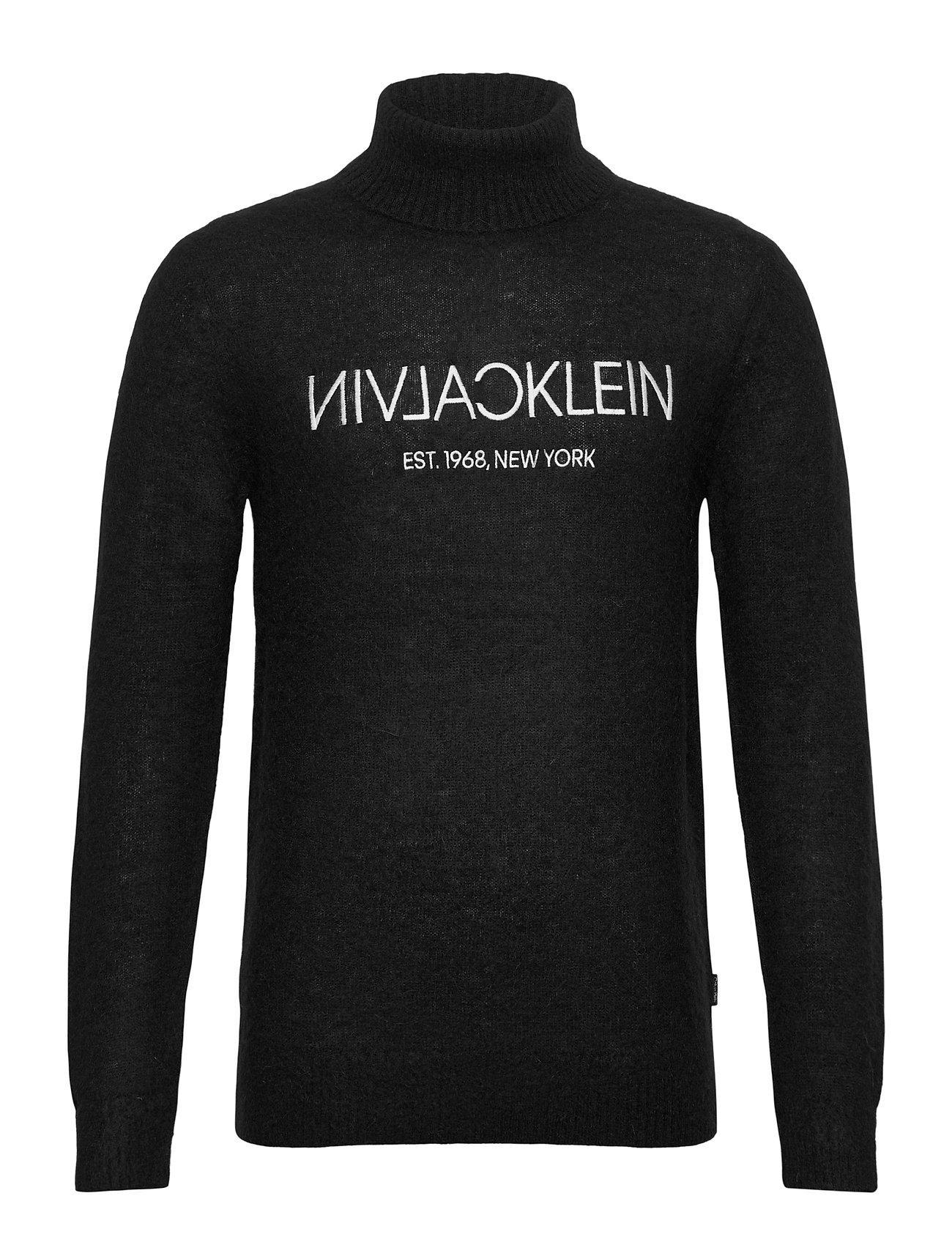 Image of Calvin Plush Logo Sweater Knitwear Turtlenecks Sort Calvin Klein (3453532635)