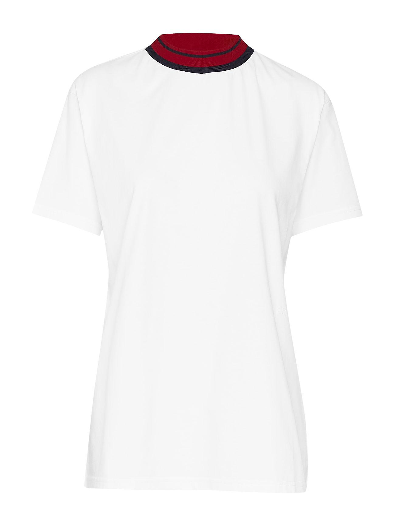 Calvin Klein MOCK- NK STP DETAIL - WHITE