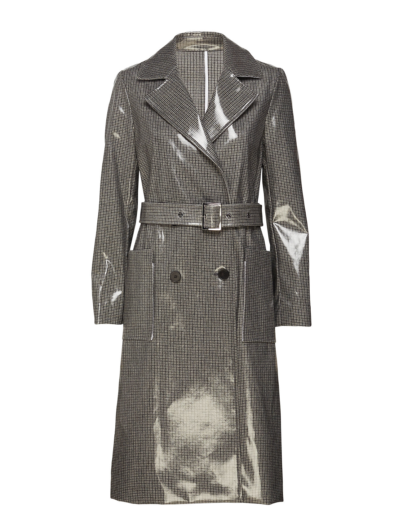Calvin Klein COATED LONG TRENCH C - LAMINATED CHECK
