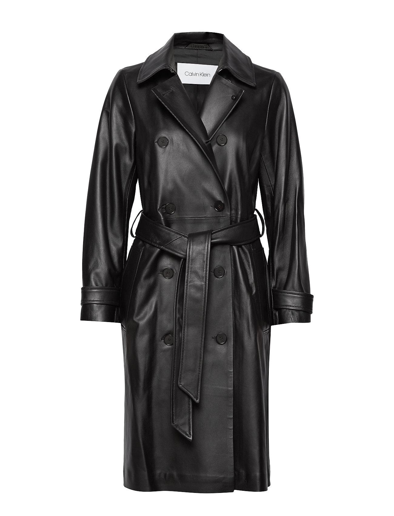 Calvin Klein LEATHER TRENCH COAT - CALVIN BLACK