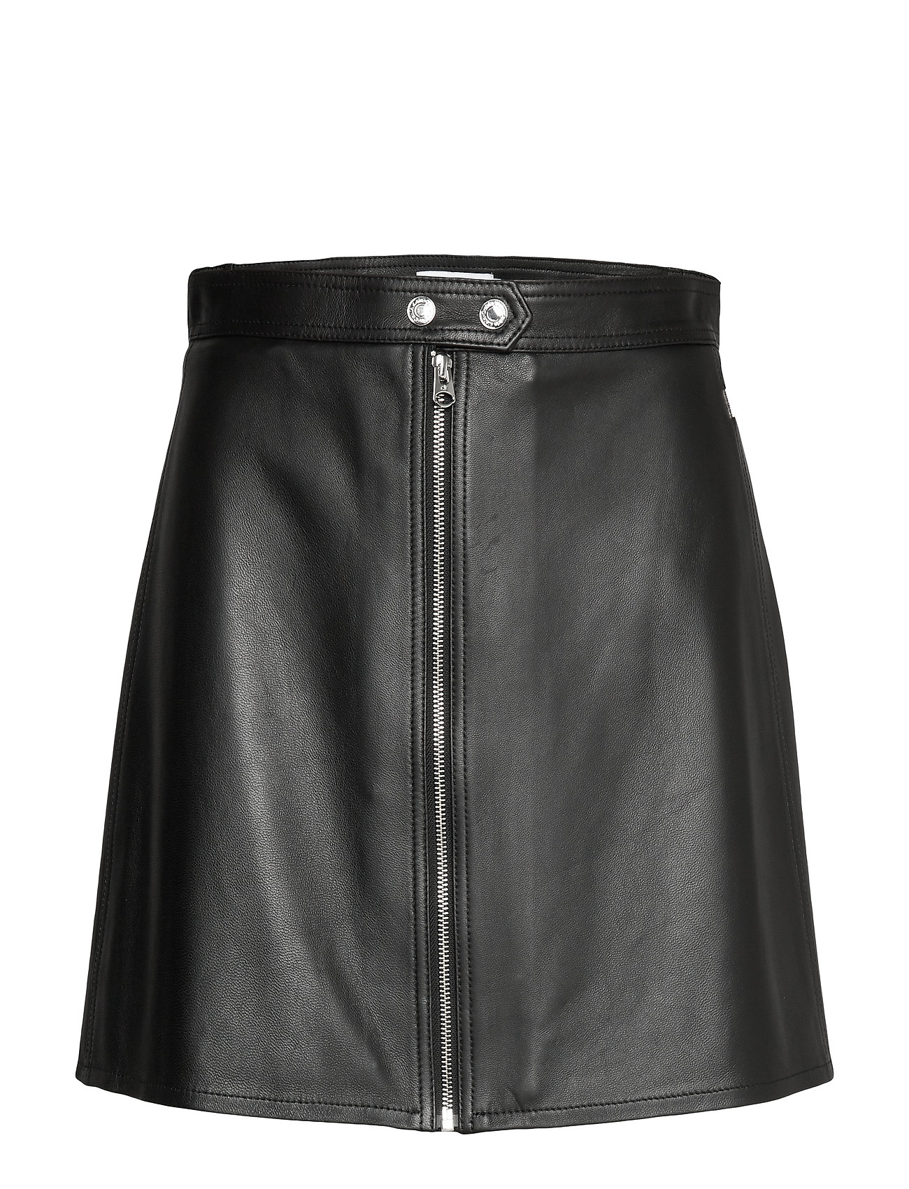 Calvin Klein LEATHER ZIP UP MINI SKIRT - CALVIN BLACK
