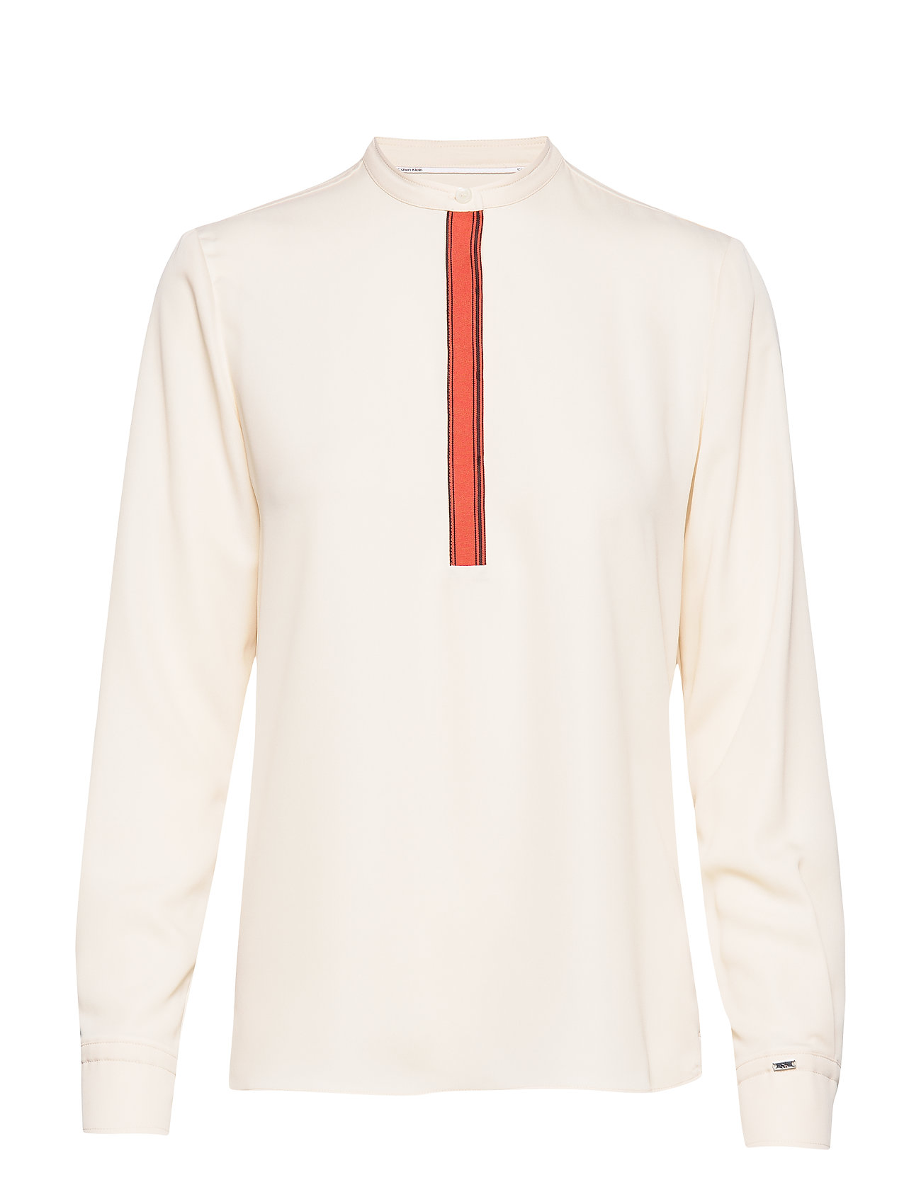 Calvin Klein LS PLACKET DETAIL BLOUSE - WHITE SMOKE