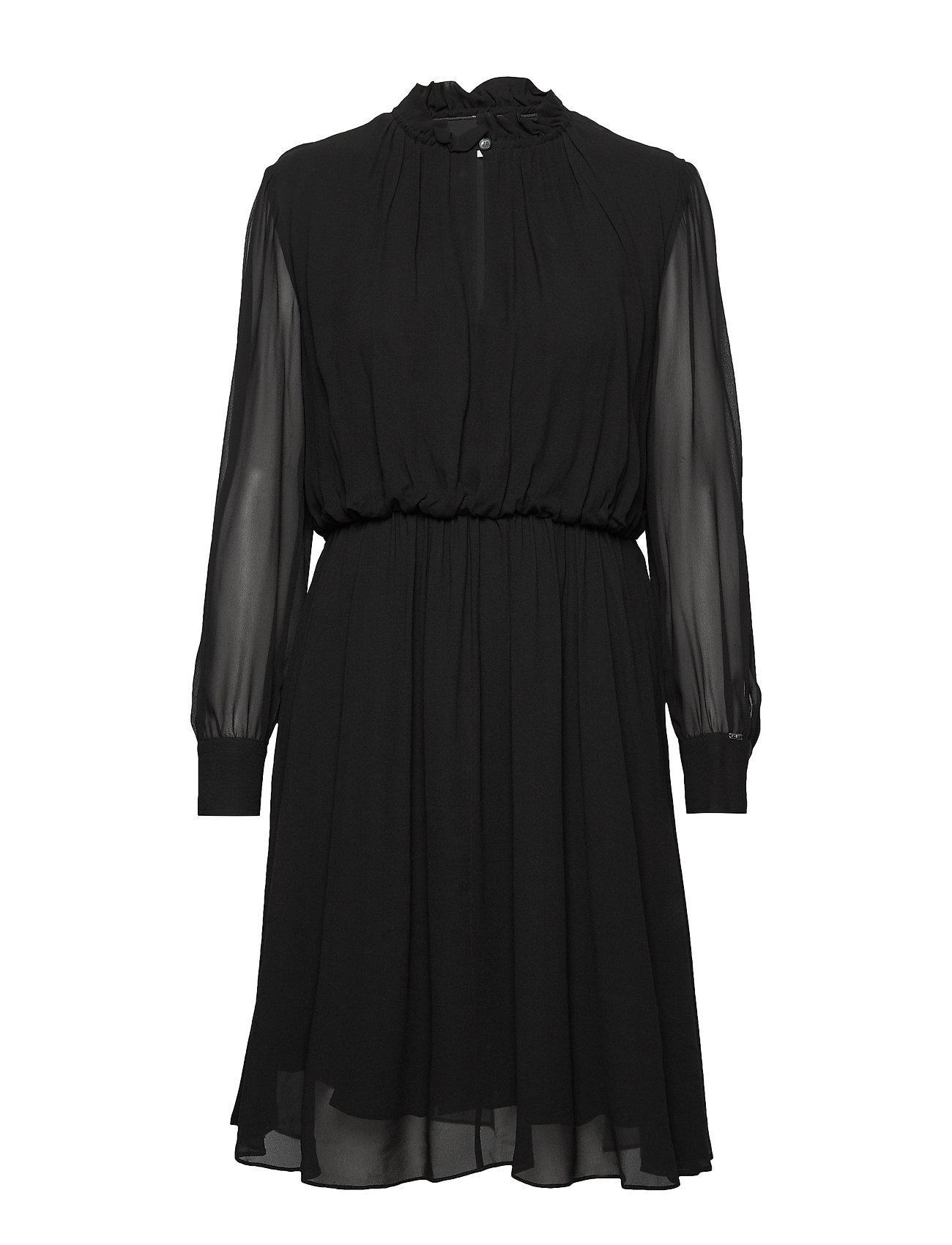 Calvin Klein GEORGETTE RUFFLE DRESS - CALVIN BLACK