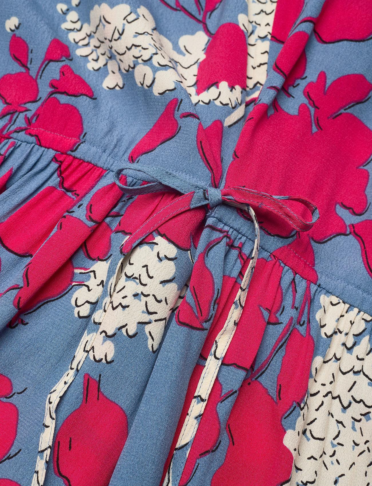 Calvin Klein PRT SS GATHERED WAIS - Sukienki TRAILING FLORAL - BLUE HEAVEN - Kobiety Odzież.