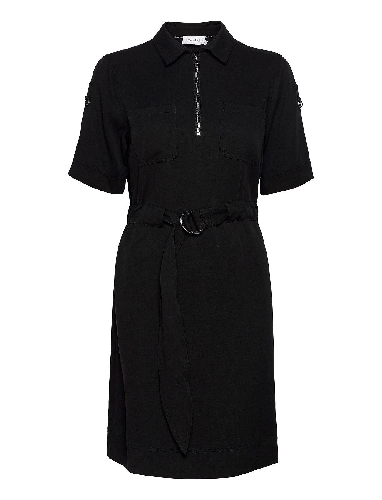CALVIN KLEIN Kleider | Tencel 3/4 Slv Zip Up Mini Dress Kleid Knielang Schwarz CALVIN KLEIN