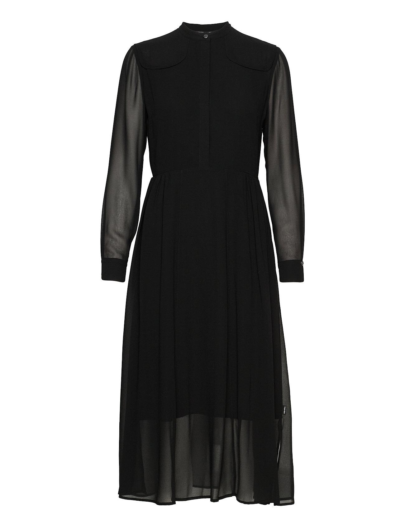 CALVIN KLEIN Blusen | Ls Button Up Maxi Dress Maxikleid Partykleid Schwarz CALVIN KLEIN