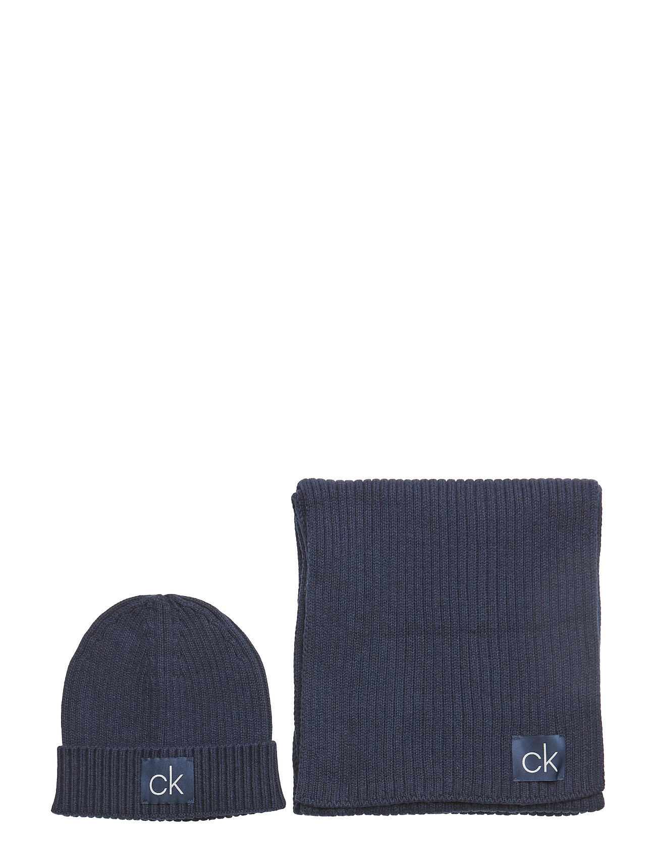 CALVIN KLEIN Basic Rib Scarf & Be Accessories Hats & Caps Beanies Blau CALVIN KLEIN
