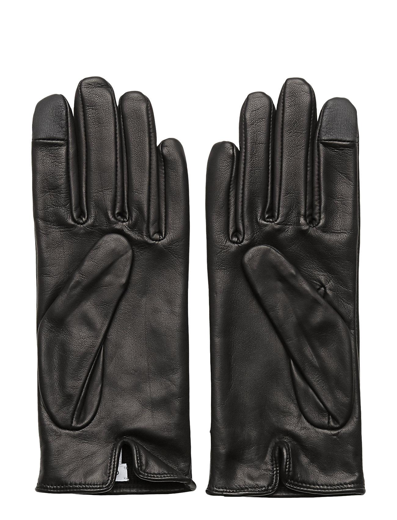 CALVIN KLEIN Deboss Logo Leather, Handschuhe Schwarz CALVIN KLEIN