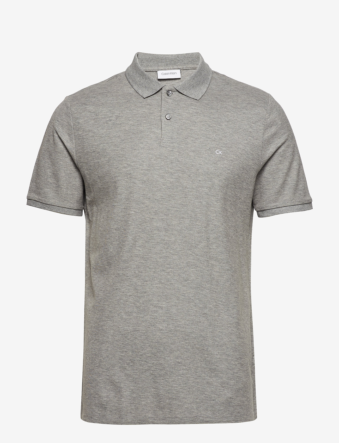 Calvin Klein - REFINED PIQUE CHEST - korte mouwen - mid grey heather - 0