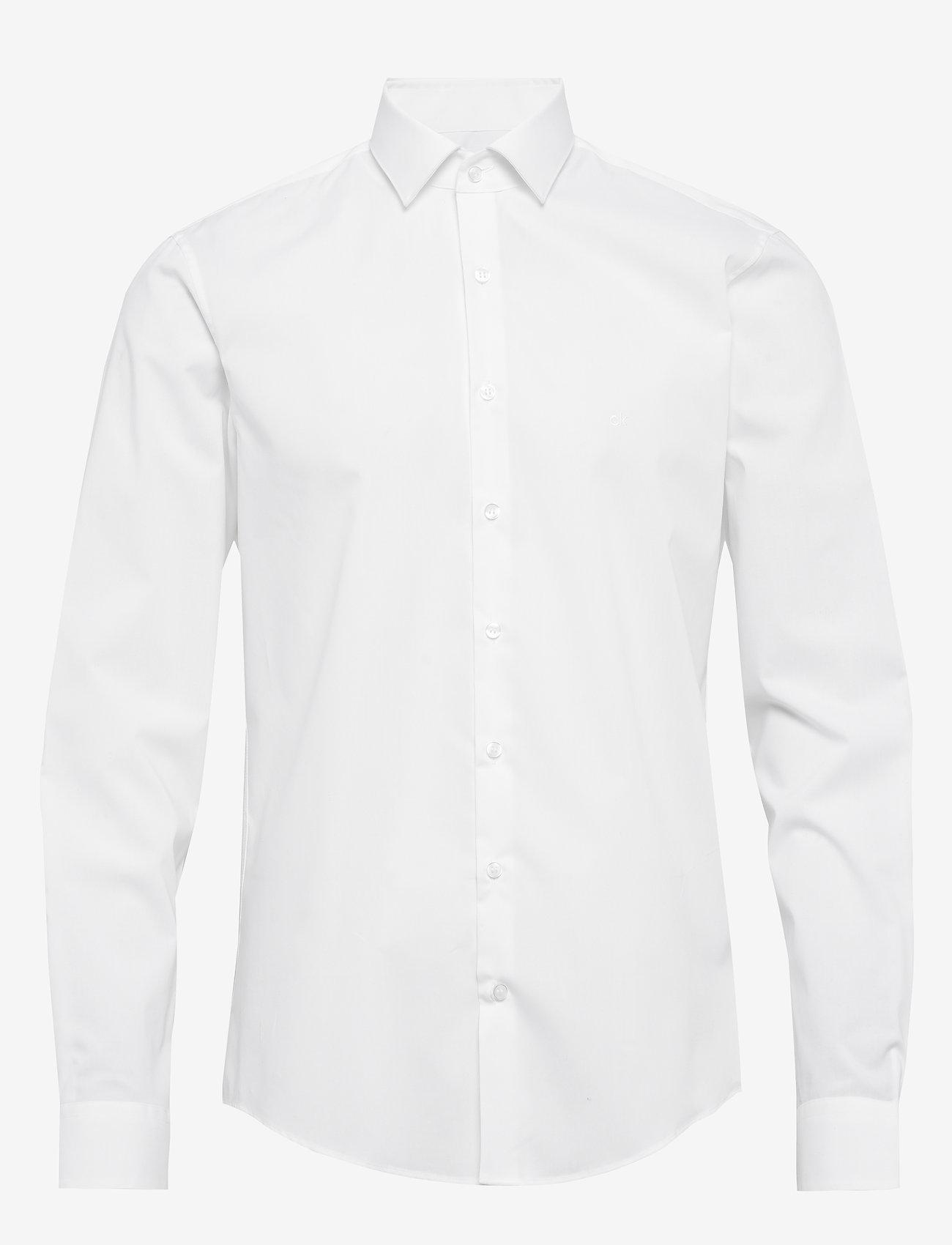 Calvin Klein - 2PLY POPLIN STRETCH SLIM SHIRT - basic shirts - df white - 0
