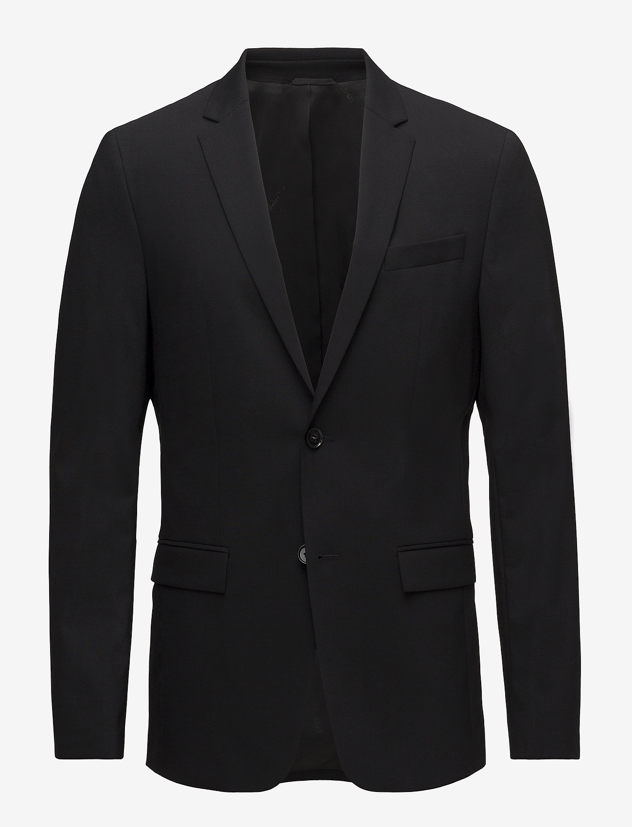 Calvin Klein - STRETCH WOOL SLIM SU - enkelknäppta kavajer - perfect black - 0