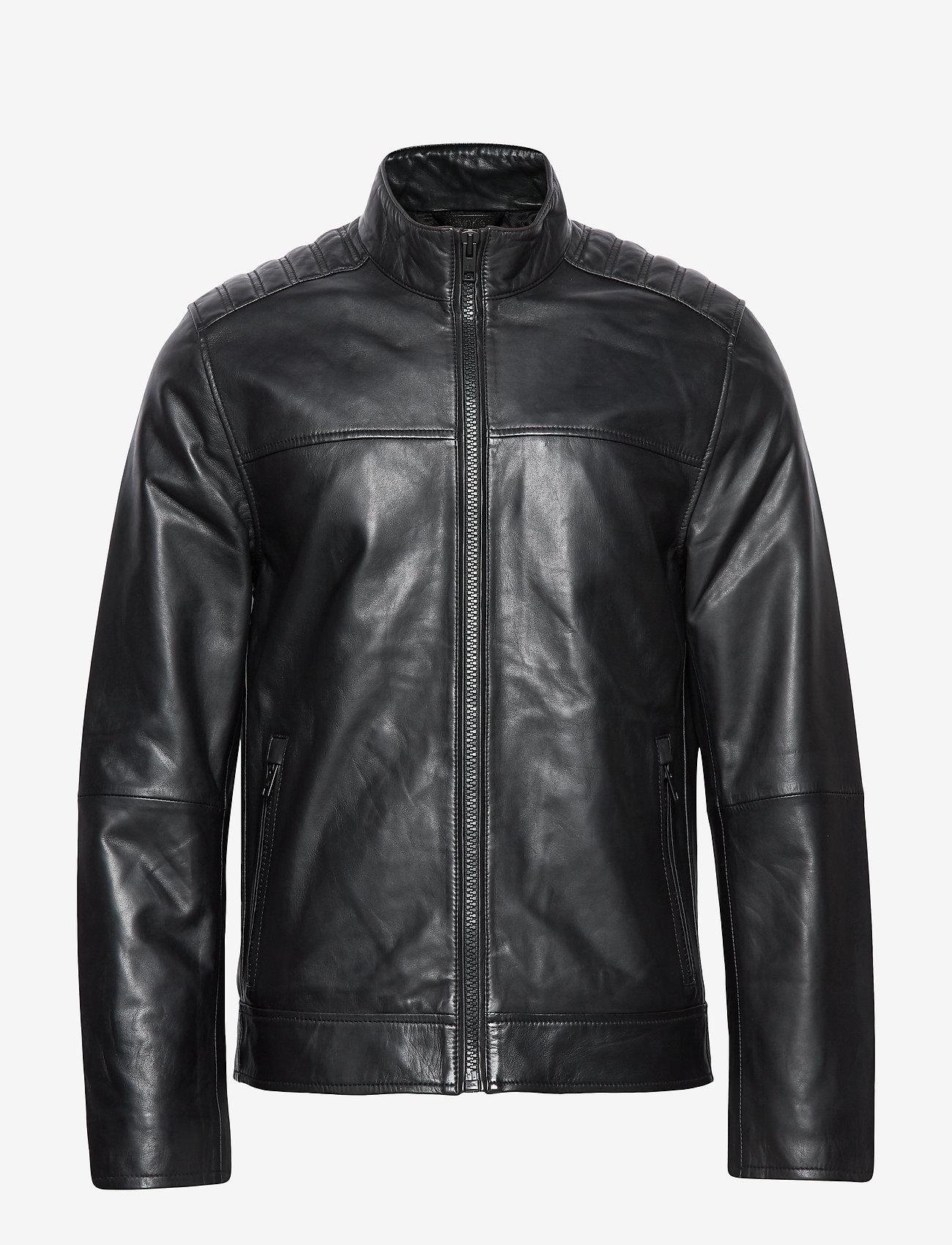 Calvin Klein - NAPPA BIKER - lederjacken - calvin black - 0