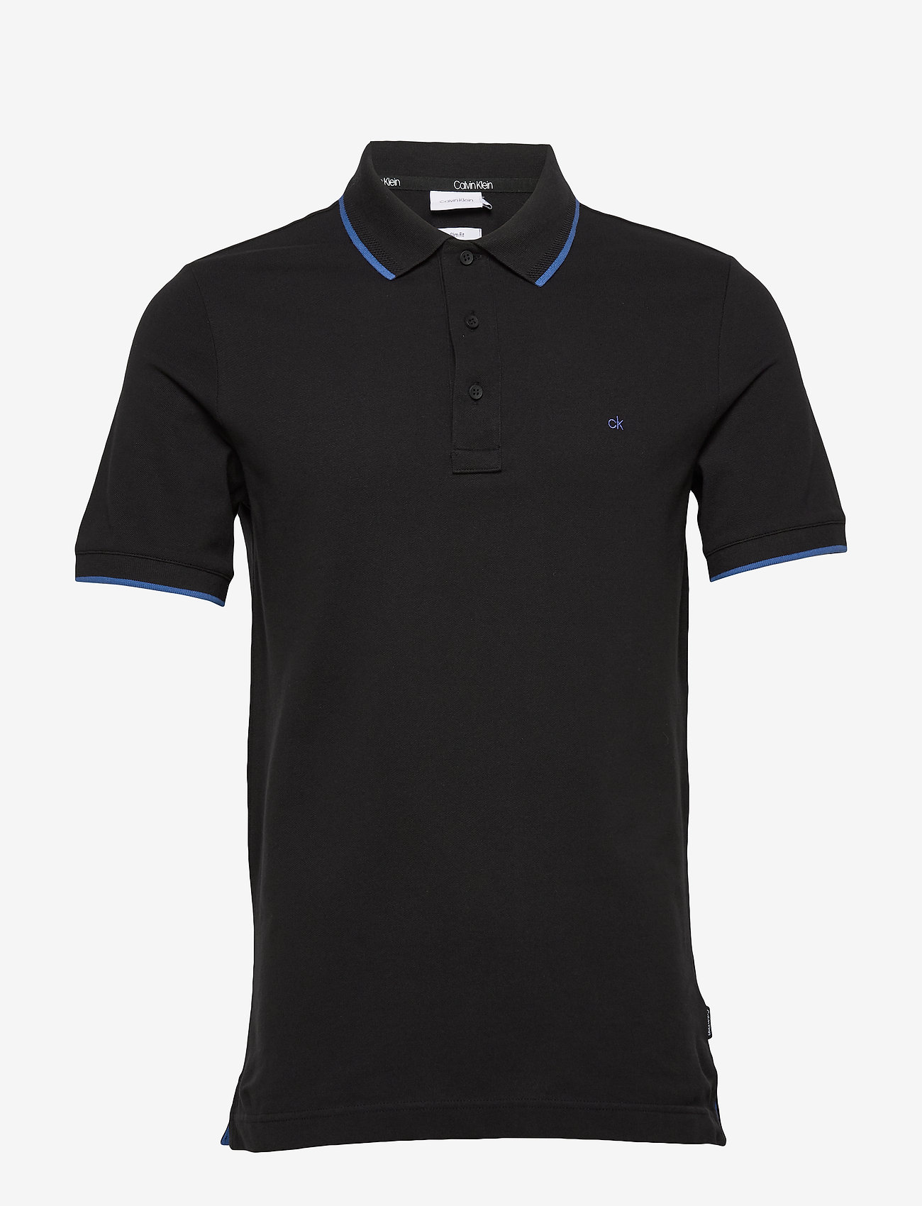 Calvin Klein - STRETCH TIPPING SLIM POLO - korte mouwen - calvin black - 0