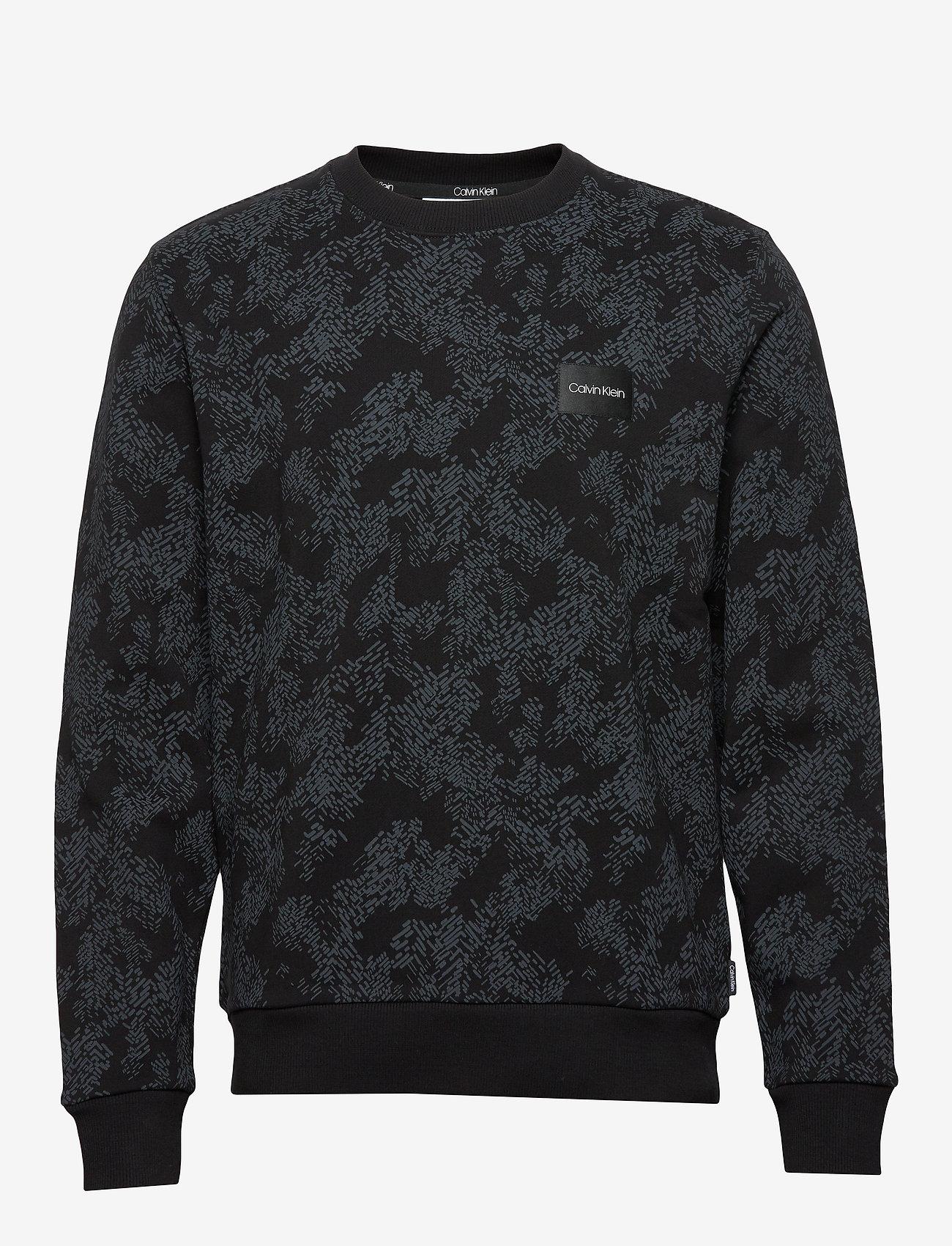 Calvin Klein Allover Printed Sweatshirt - Sweatshirts Black
