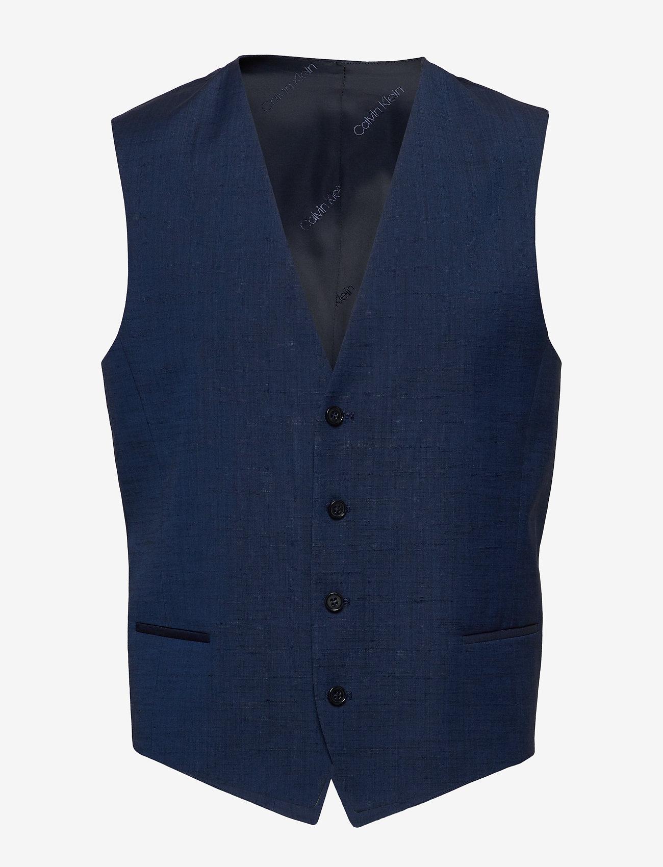Calvin Klein - WOOL COTTON TROPICAL WAISTCOAT - waistcoats - regal navy - 0