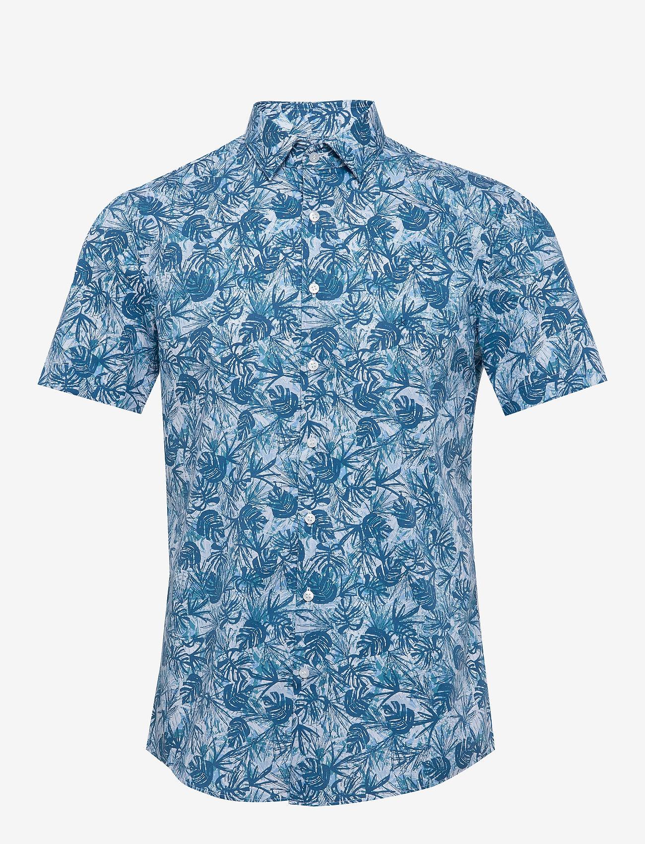 Calvin Klein - PALM PRINT S/S SLIM - overhemden korte mouwen - blue - 0