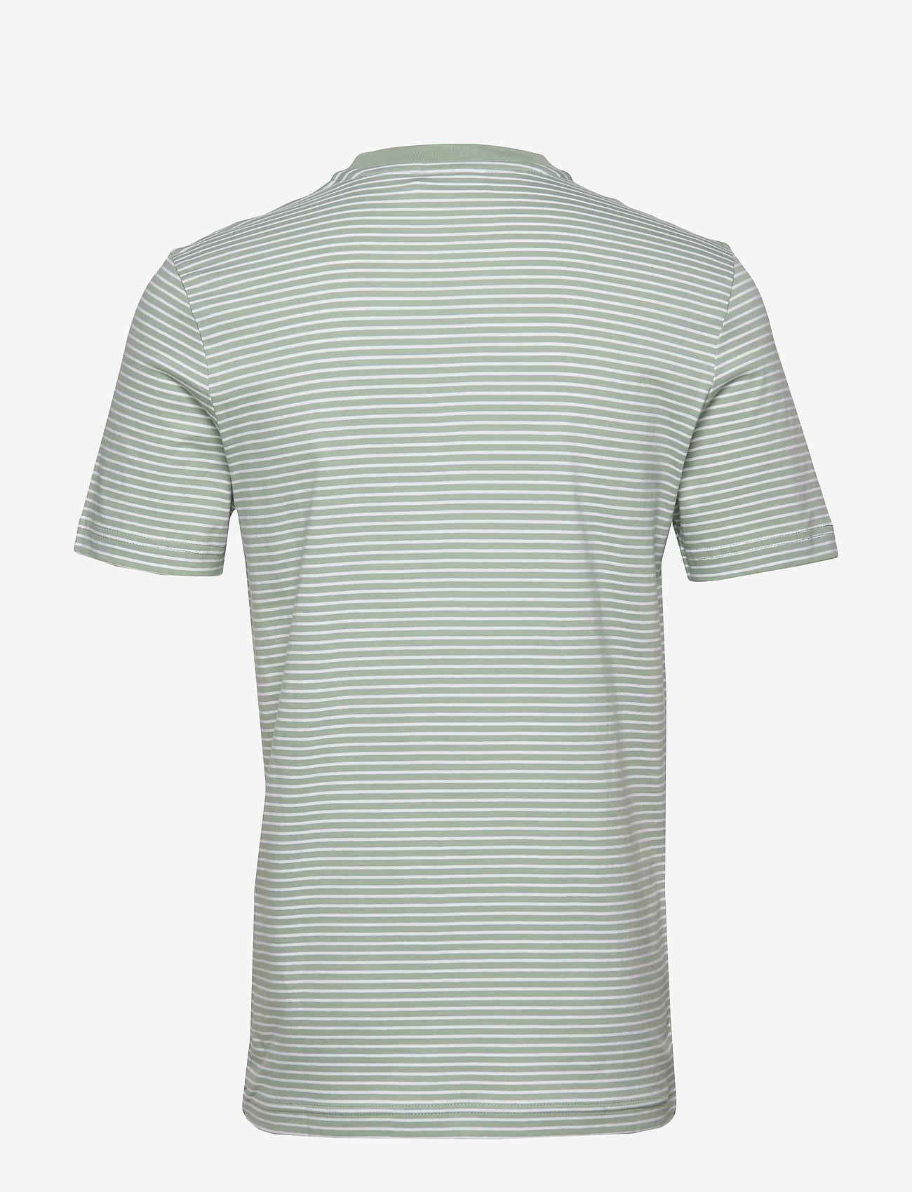 Calvin Klein Small Stripes Chest Logo T-shirt - T-shirts Stripe Granite Green / White