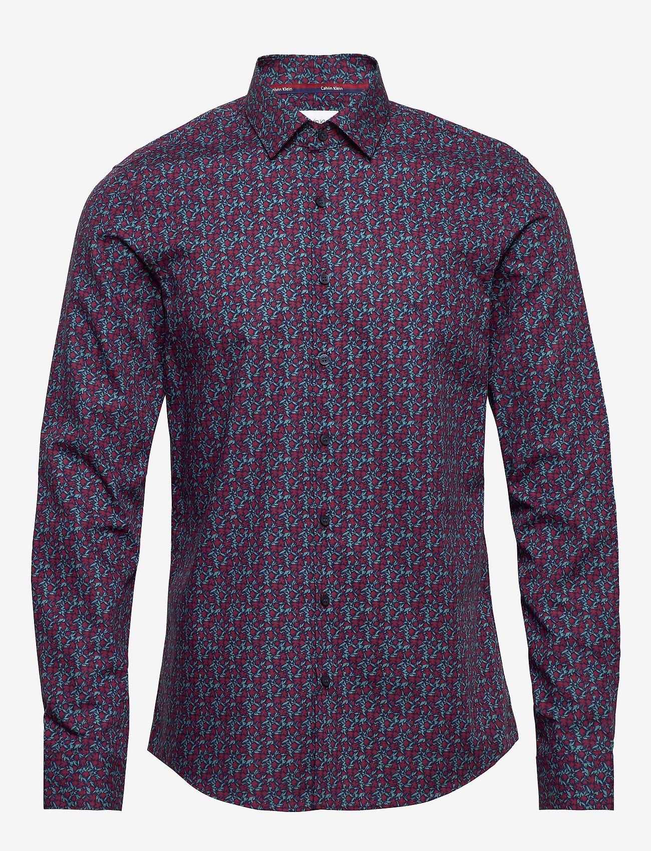 Calvin Klein - FLOWER PRINT SLIM SHIRT - business shirts - navy - 0