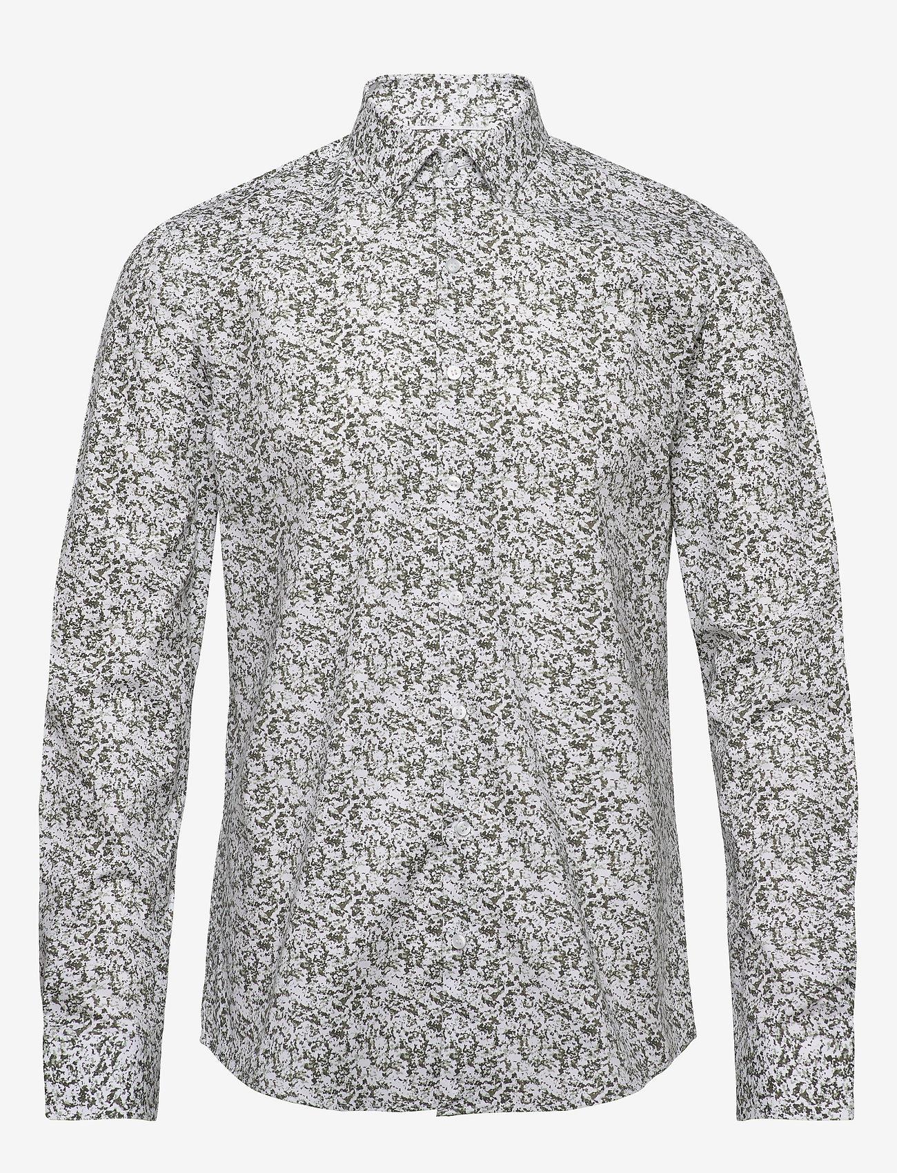 Calvin Klein - CAMO PRINT STRETCH SLIM SHIRT - business shirts - olive - 0