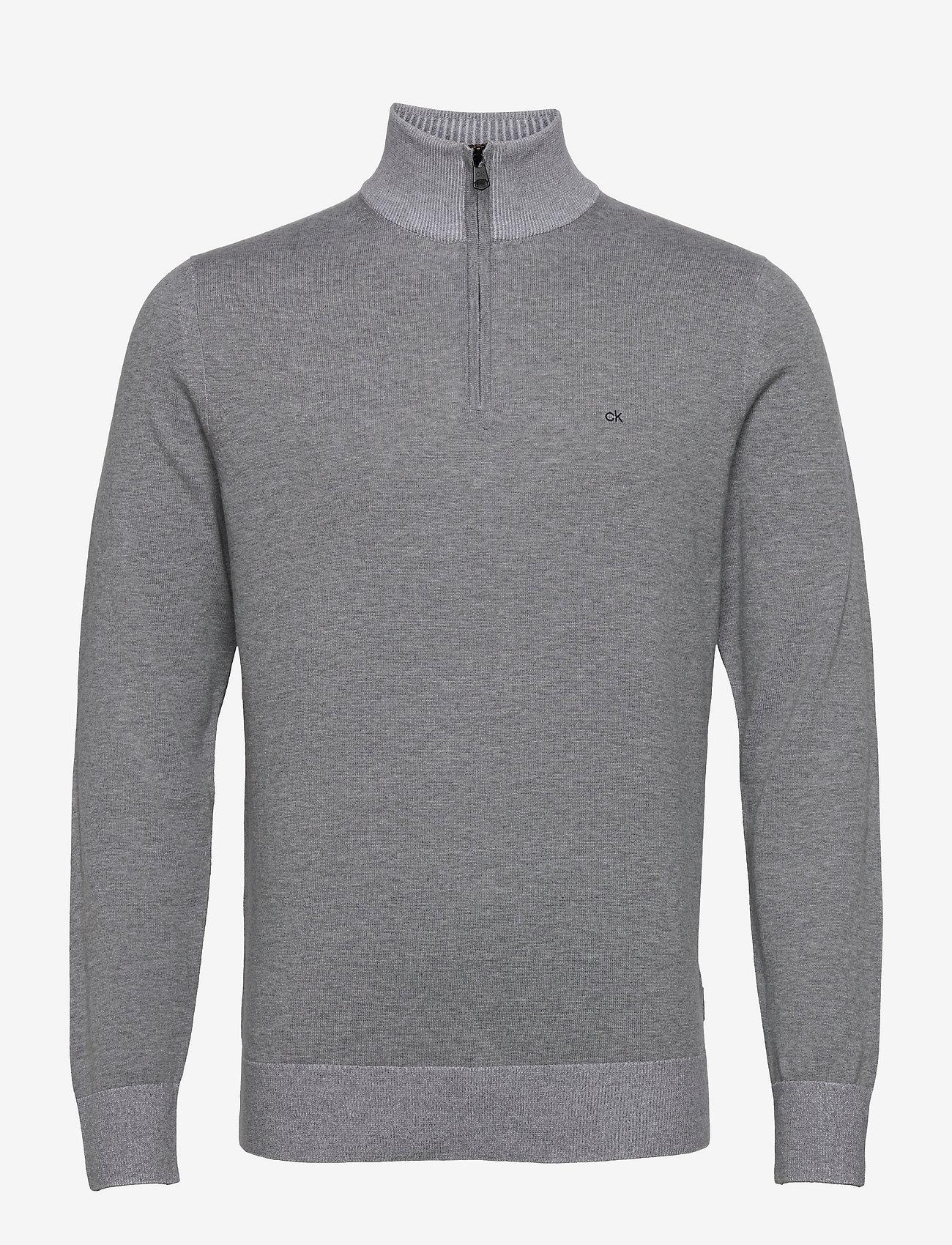 Calvin Klein - COTTON SILK 1/4 ZIP SWEATER - half zip - mid grey heather - 0